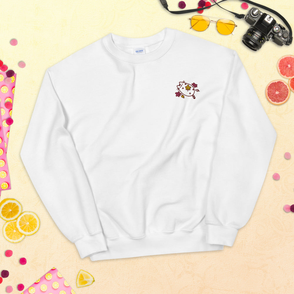 Pusheen Fall Sweatshirt Custom Embroidered Pullover Crewneck