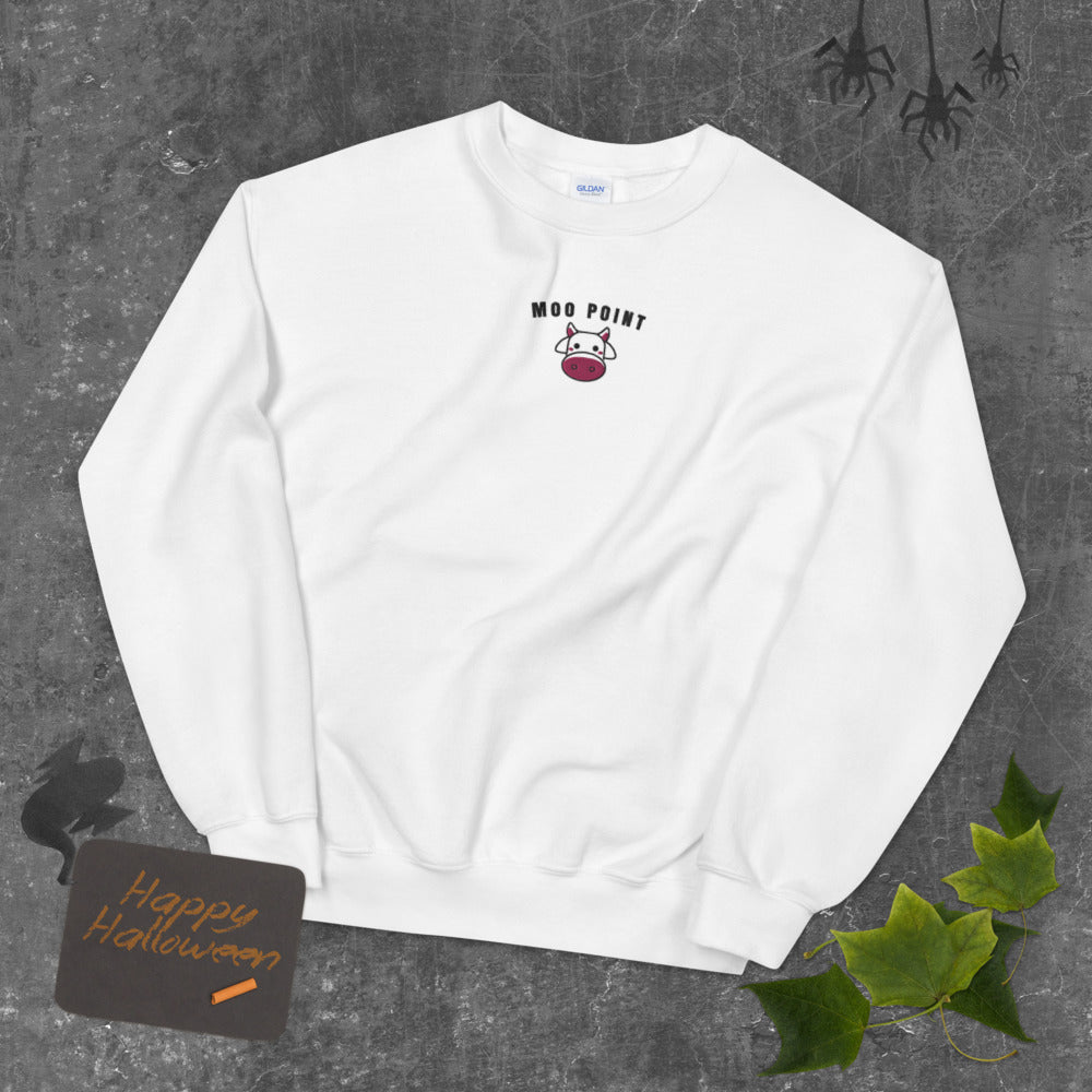 Joey's, It's a Moo Point Friends Meme Embroidered Crewneck Sweatshirt