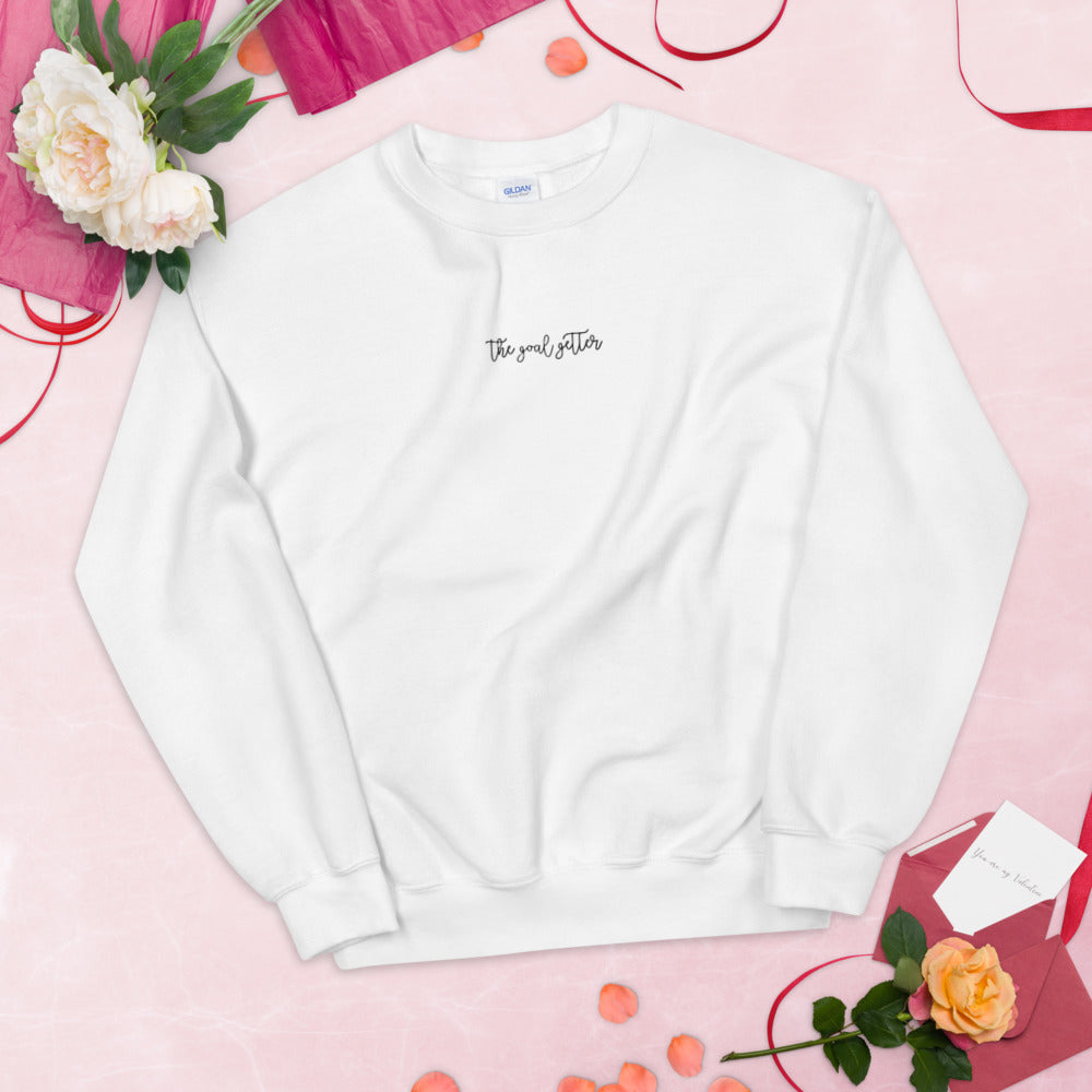 The Confident Goal Getter Girl Embroidered Crewneck Sweatshirt