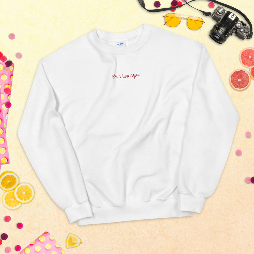 P.S. I Love You Sweatshirt Embroidered Cute Pullover Crewneck