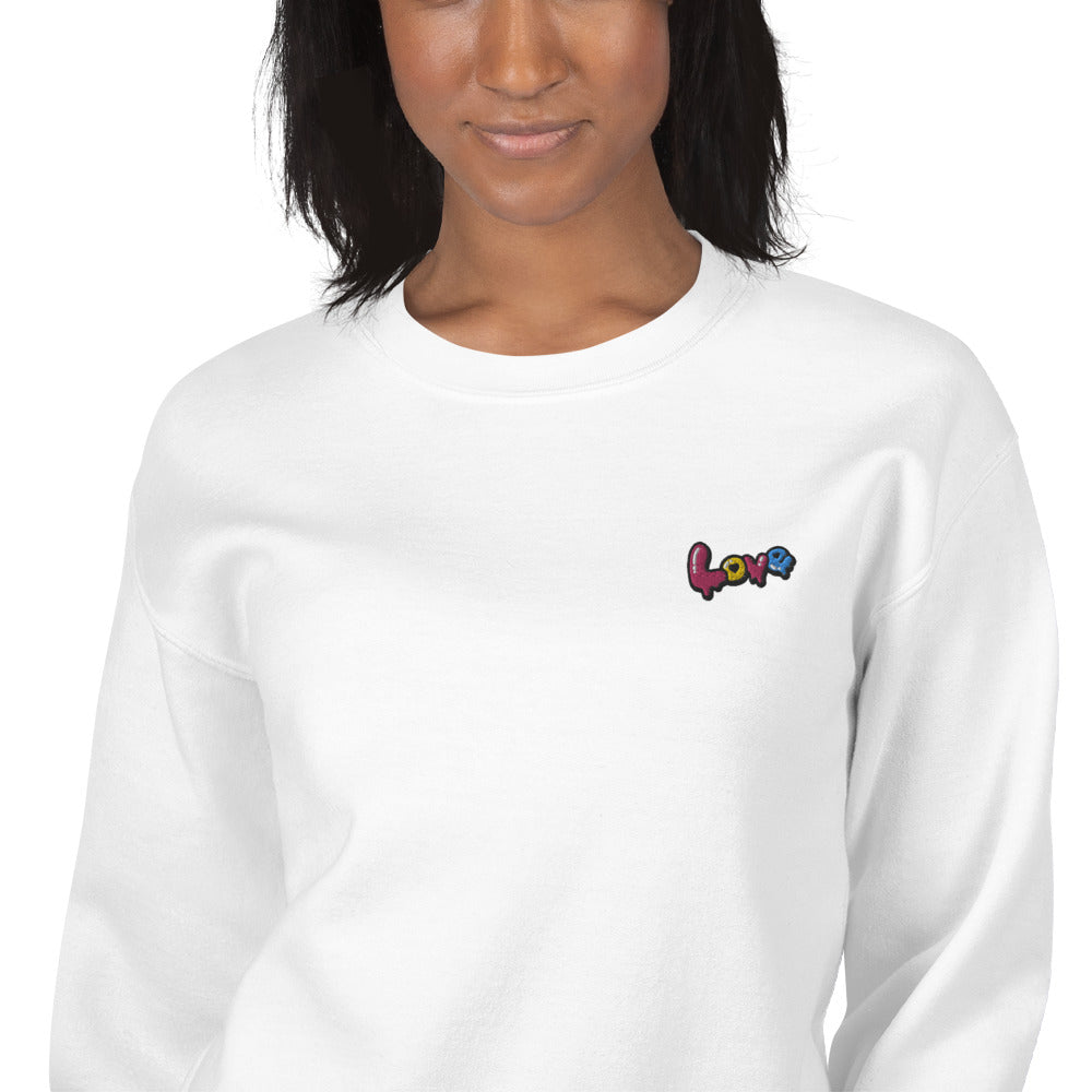 Love Embroidered Pullover Crewneck Sweatshirt for Women