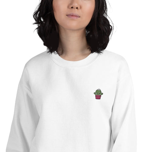 Kawaii Cactus Embroidered Pullover Crewneck Sweatshirt for Women