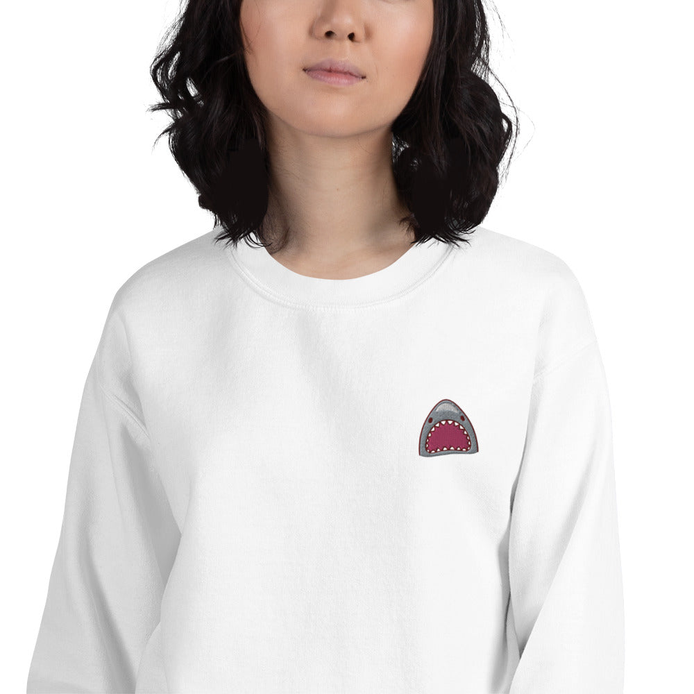 Shark Bite Embroidered Pullover Crewneck Sweatshirt