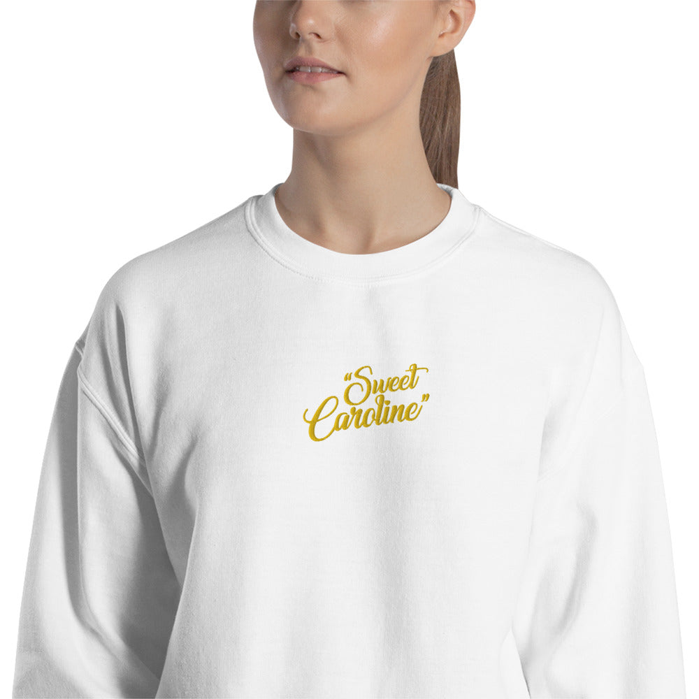 Sweet Caroline Cute Embroidered Pullover Crewneck Sweatshirt