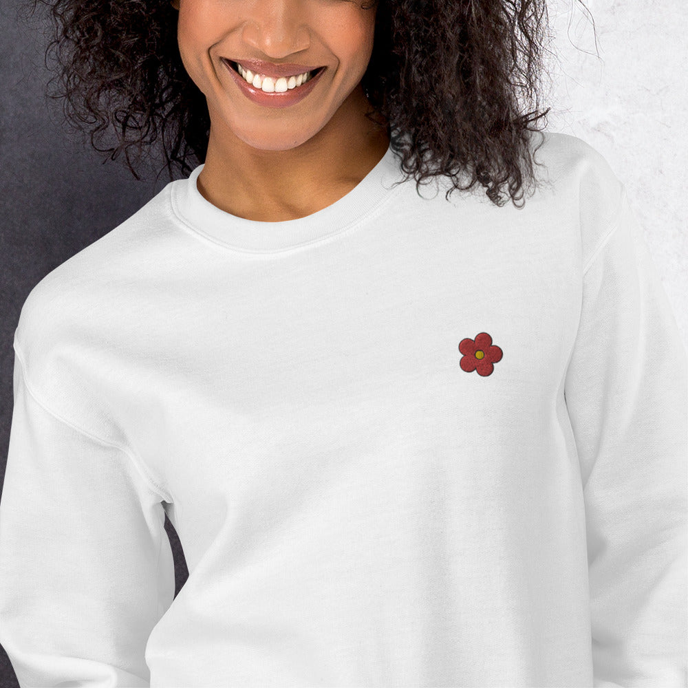 Red Flower Sweatshirt Custom Embroidered Pullover Crewneck