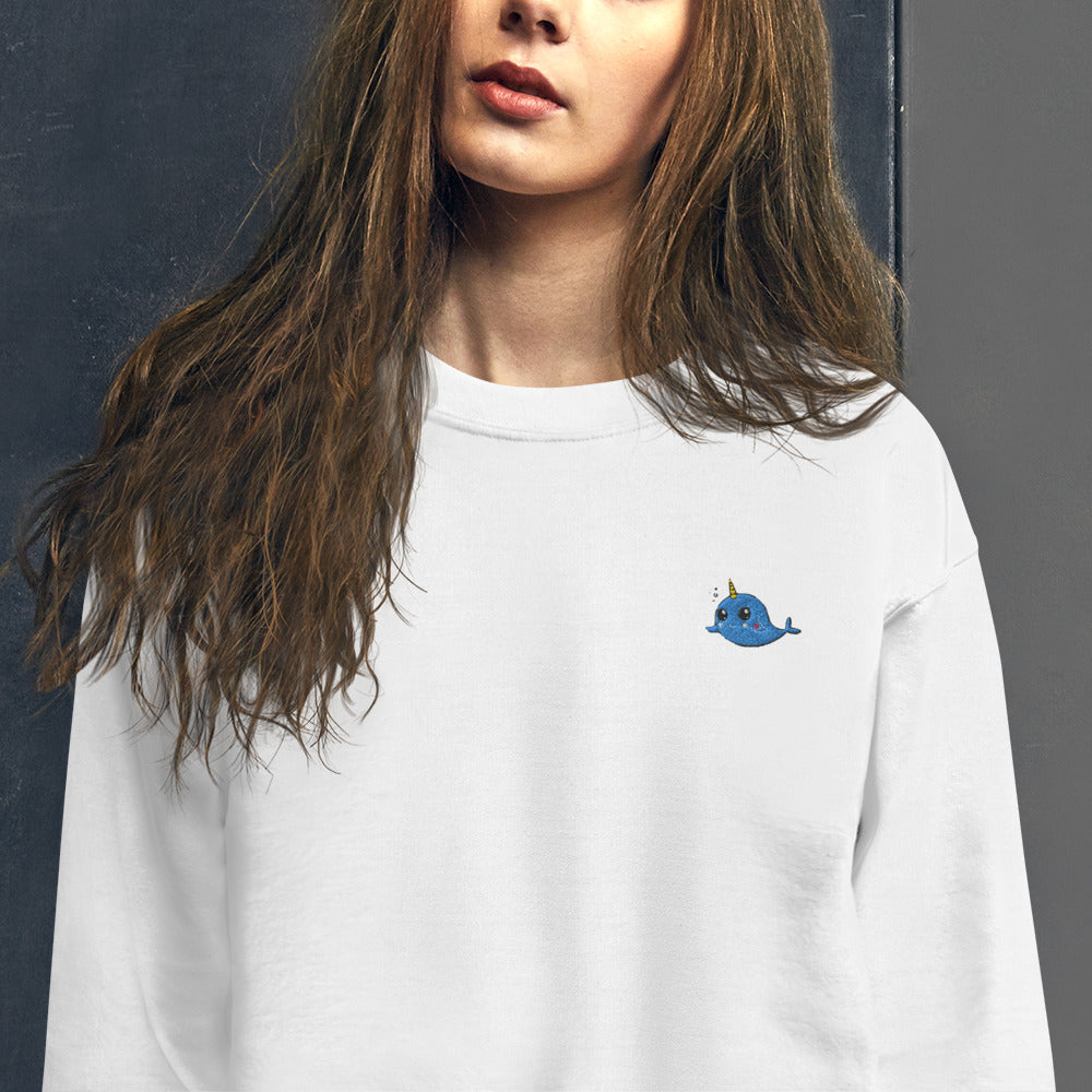 Narwhals Sweatshirt Cute Embroidered Unicorn's Horn Whale Crewneck