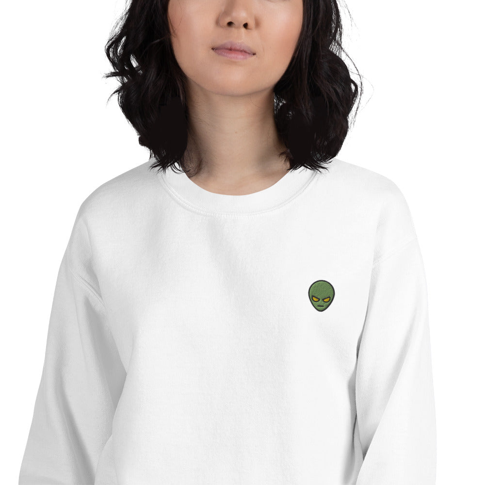 Alien Sweatshirt Embroidered Angry Alien Face Pullover Crewneck