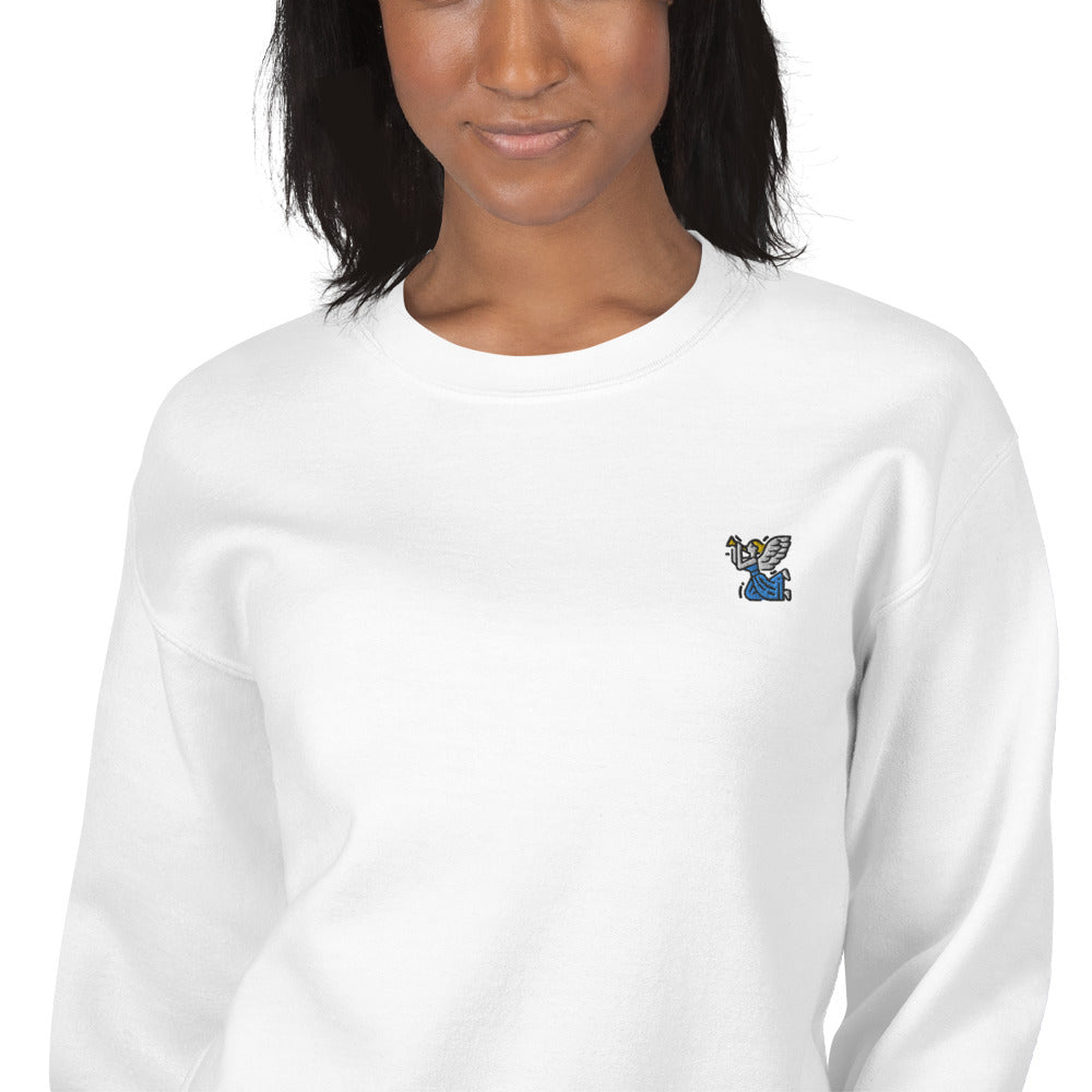 Angel with Flute Embroidered Pullover Crewneck Sweatshirt