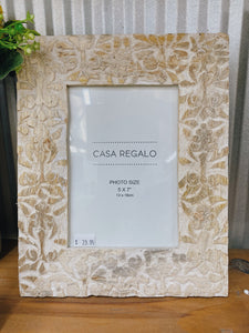 White Floral Carved Frame 5x7""