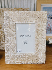 White Floral Carved Frame 4x6""