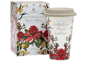Aus Floral Emblems Double Walled Travel Mug