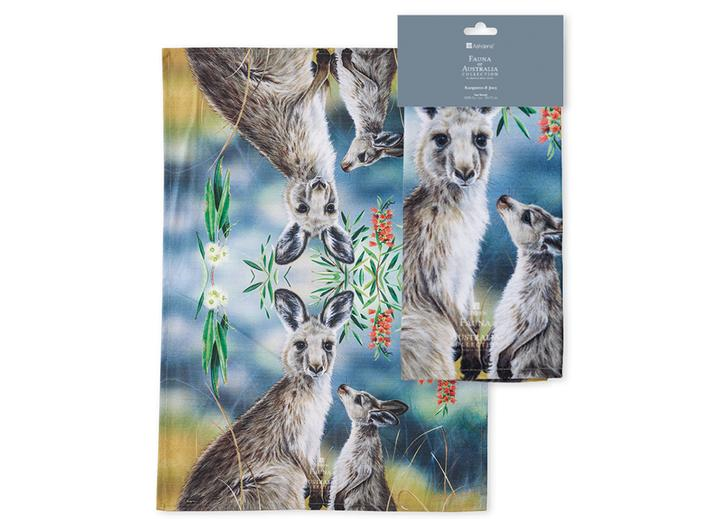 Fauna of Aus Kangaroo & Joey Kitchen Towel