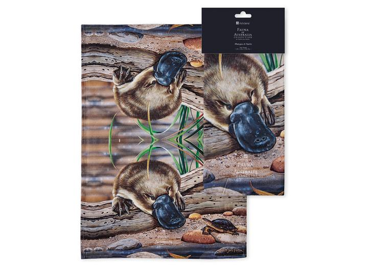 Fauna of Aus Platypus & Turtle Kitchen Towel