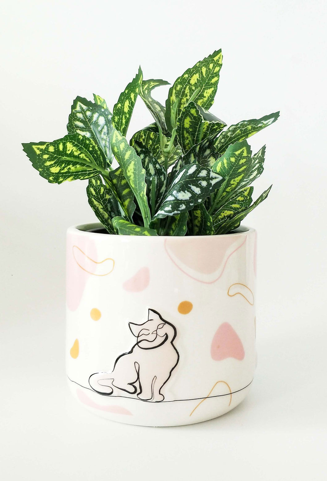 Linear Cat Planter Pink