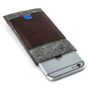 Felt Wallet Sleeve with 2 Synthetic Leather Card Pockets - iPhones iPhone Sleeve Dockem