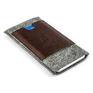 Felt Wallet Sleeve with 2 Synthetic Leather Card Pockets - iPhones iPhone Sleeve Dockem iPhone 11 Pro Max Grey & Brown