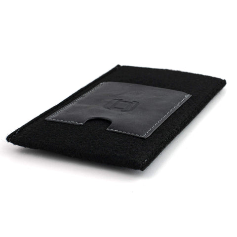 Felt Wallet Sleeve with 2 Synthetic Leather Card Pockets - iPhones iPhone Sleeve Dockem iPhone 11 Pro Max Black & Black