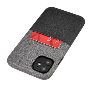 Luxe M1 Twill Canvas Wallet Case with 1 LayFlat Card Slot - iPhone iPhone Case Dockem iPhone 11 Black and Grey