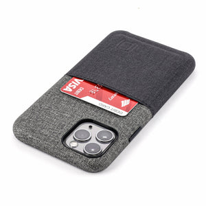 Luxe M1 Twill Canvas Wallet Case with 1 LayFlat Card Slot - iPhone iPhone Case Dockem iPhone 11 Pro Black and Grey