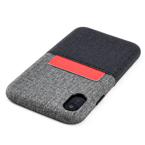 Luxe M1 Twill Canvas Wallet Case with 1 LayFlat Card Slot - iPhone iPhone Case Dockem iPhone XR Black and Grey