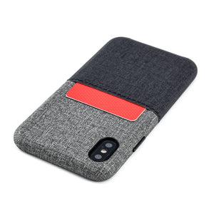 Luxe M1 Twill Canvas Wallet Case with 1 LayFlat Card Slot - iPhone iPhone Case Dockem iPhone XS Black and Grey