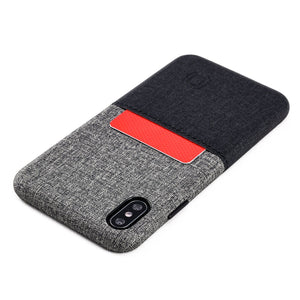 Luxe M1 Twill Canvas Wallet Case with 1 LayFlat Card Slot - iPhone iPhone Case Dockem iPhone XS Max Black and Grey