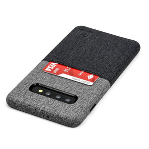 Luxe N1 Twill Canvas One Card Wallet Case for Samsung Galaxy S10, S10e, S10+ Samsung Case Dockem Galaxy S10+ Black and Grey