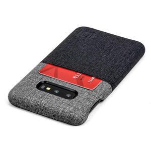 Luxe N1 Twill Canvas One Card Wallet Case for Samsung Galaxy S10, S10e, S10+ Samsung Case Dockem Galaxy S10e Black and Grey