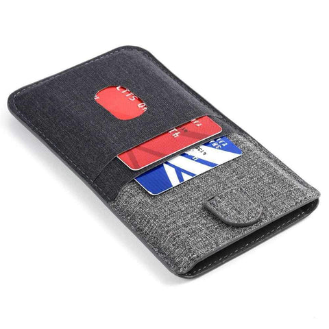 Luxe Wallet Sleeve 2.0 with 4 Card Slots - iPhones iPhone Sleeve Dockem iPhone 7 Plus Black and Grey