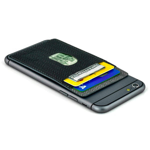 Removable Adhesive Synthetic Leather Wallet for Smartphones Accessories Dockem Black and Grey