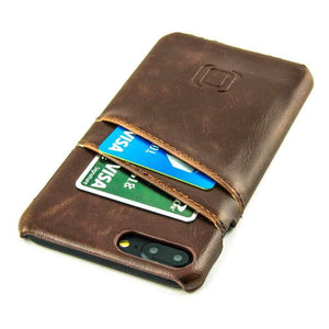 Synthetic Leather Shell Wallet Case for iPhones iPhone Case Dockem iPhone 8 Plus Vintage Brown