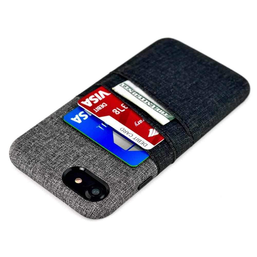 Twill Canvas Card and Cash Case for iPhone iPhone Case Dockem iPhone SE 2 Black and Grey