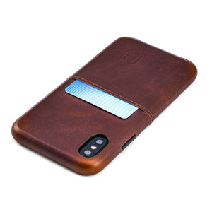 Virtuosa M1 Genuine Leather Card Case with 1 Lay-Flat Card Slot - iPhone iPhone Case Dockem iPhone XS Brown Virtuosa