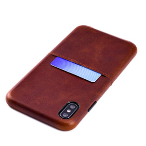 Virtuosa M1 Genuine Leather Card Case with 1 Lay-Flat Card Slot - iPhone iPhone Case Dockem iPhone XS Max Brown Virtuosa