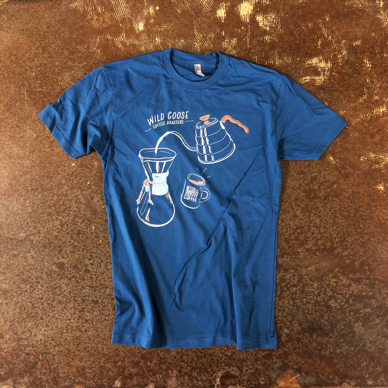 Blue shirt with an image of a water being poured over a chemex.