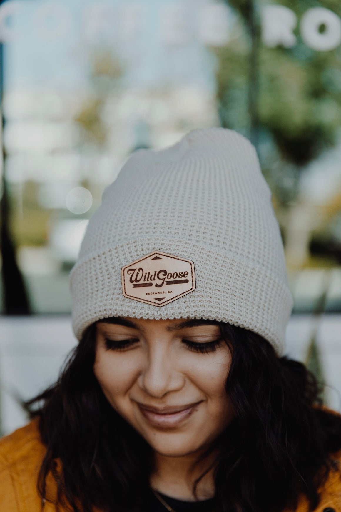Tan Beanie (Leather Patch)
