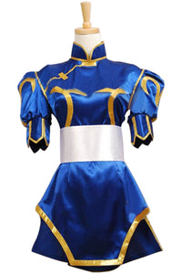 Street Fighter Chun Li Cosplay Costume Halloween Blue Dress