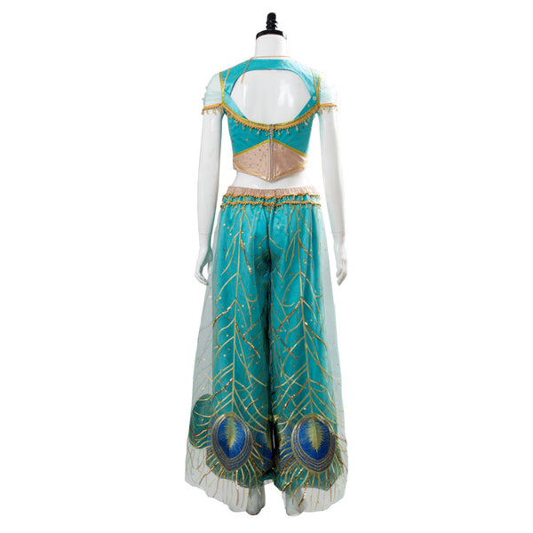 Aladdin the Movie Princess Jasmine Costume Naomi Scott Gown Blue Dress Cosplay Costume