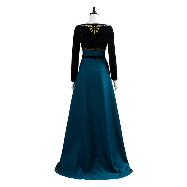 Frozen 2 Queen Anna Coronation Gown Dress Dark Green Cosplay Costume