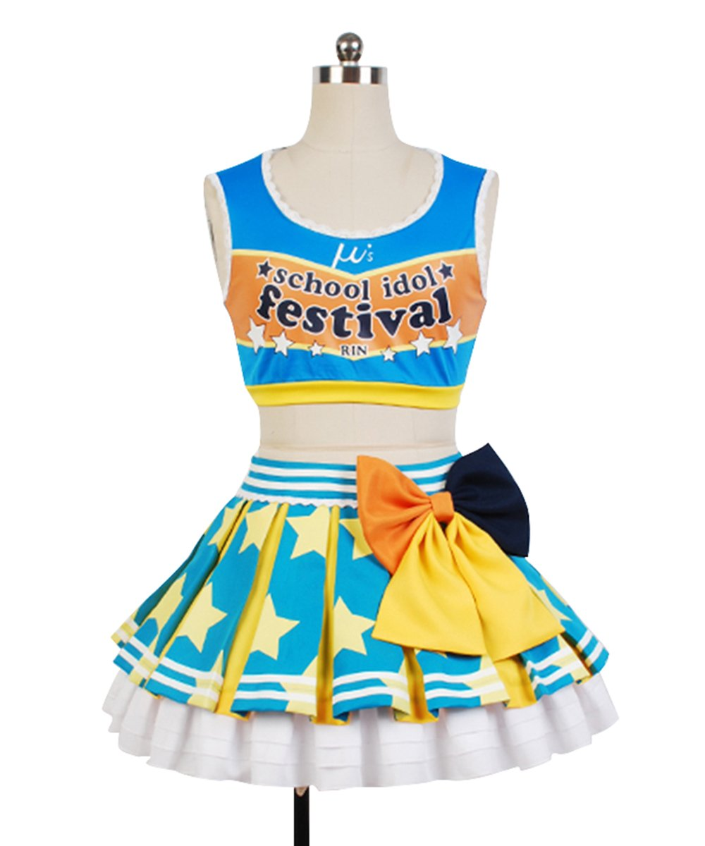 LoveLive! Rin Hoshizora Cheerleaders Uniform Cosplay Costume