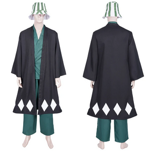 Anime Bleach Halloween Carnival Suit Urahara Kisuke Coat Pants Hat Outfit Cosplay Costume