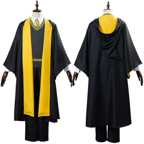 Harry Potter Hufflepuff Robe Cloak Outfit School Uniform Cosplay Costume Halloween Carnival Costume