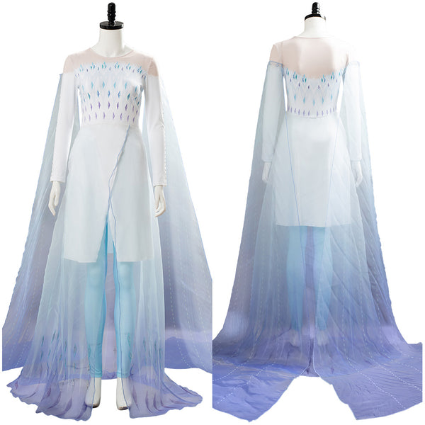 Elsa Frozen 2 Ahtohallan Cave Snow Flake Dress Cosplay Costume