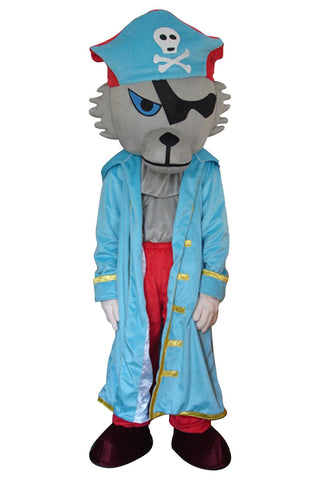 Cartoon Wolf Pirate Mascot Costume Adult Size