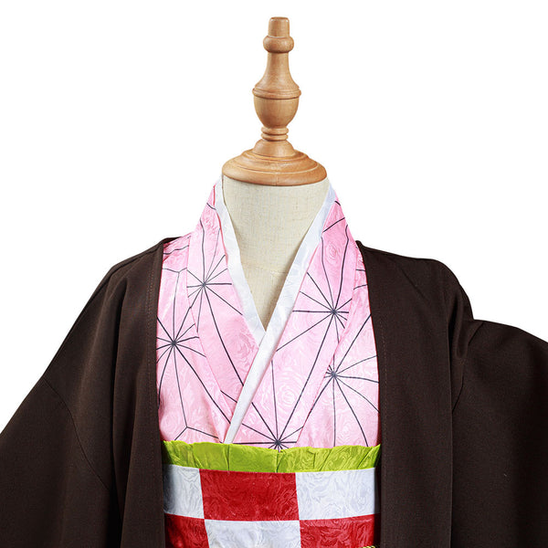 Demon Slayer: Kimetsu no Yaiba Kids Kimono Outfits Kamado Nezuko Halloween Carnival Suit Cosplay Costume