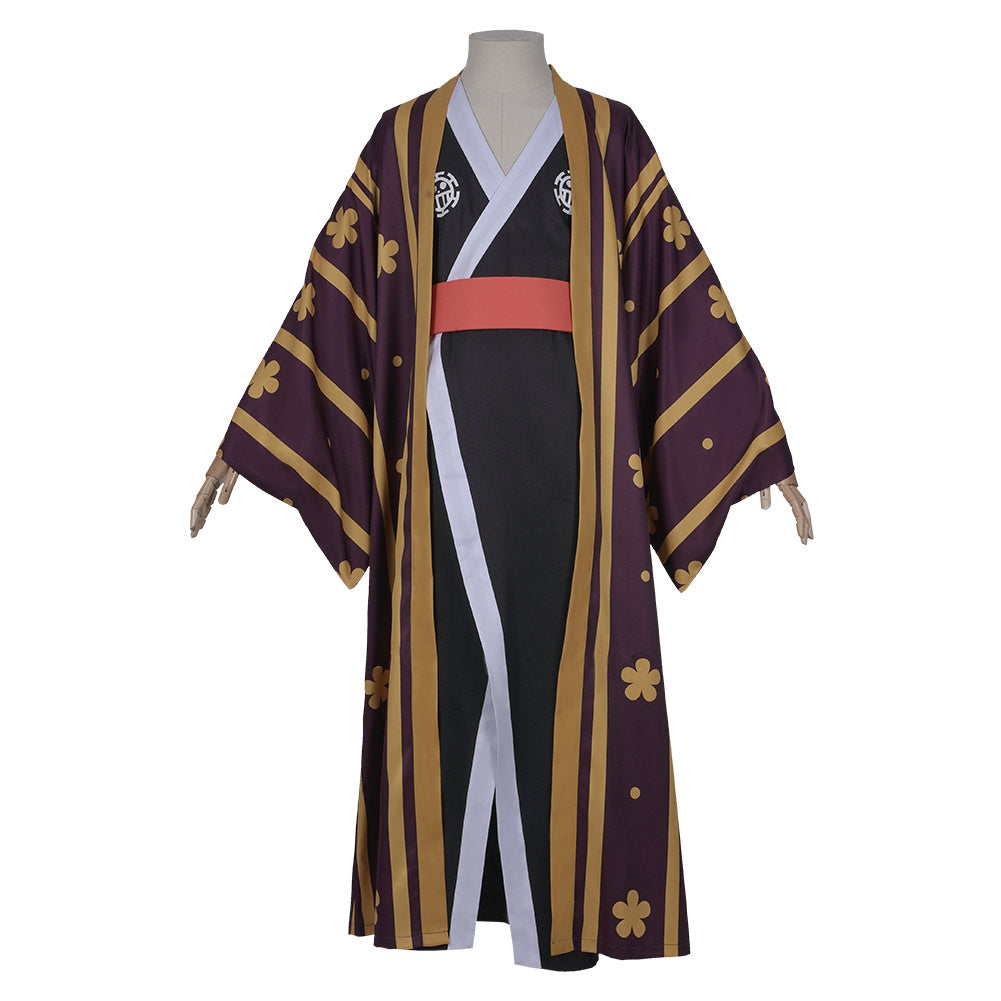 One Piece Halloween Carnival Costume Trafalgar Law/Trafalgar D Water Law Kimono Robe Full Suit Outfit Cosplay Costume