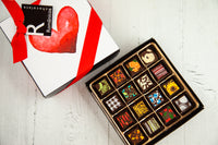 16 gourmet dark chocolate art bonbons and a beautiful I Love you art cover. Handcrafted with 70% Venezuelan Cocoa. Vegan Chocolates Available. Choose between our single layer, double layer, or mixed layer with our signature truffles. Nationwide Delivery.