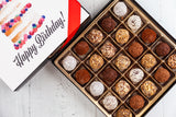 25 or 50 dark chocolate Truffles and a beautiful Happy Birthday Art Cover. Handcrafted with 70% Venezuelan Cocoa. Choose between our single layer, double layer, or mixed layer with our chocolate art bonbons. Nationwide Delivery.