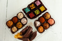 Gourmet Dark Chocolate Party Tray with a mix of our Fine Chocolate Art Bonbons, our Dark Chocolate Signature Truffles, and our Dried Fruits covered in dark chocolate. Handcrafted with 70% Venezuelan Cocoa, a perfect gift to bring to a gathering or a party.