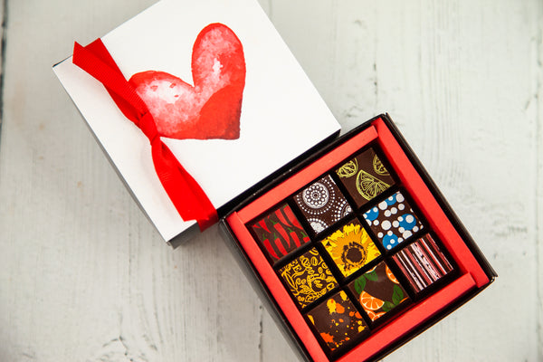 9 Gourmet Dark Chocolate Art Bonbons and a beautiful I Love You Box Cover. Handcrafted with 70% Venezuelan Cocoa. Vegan Chocolates Available. Nationwide Delivery.